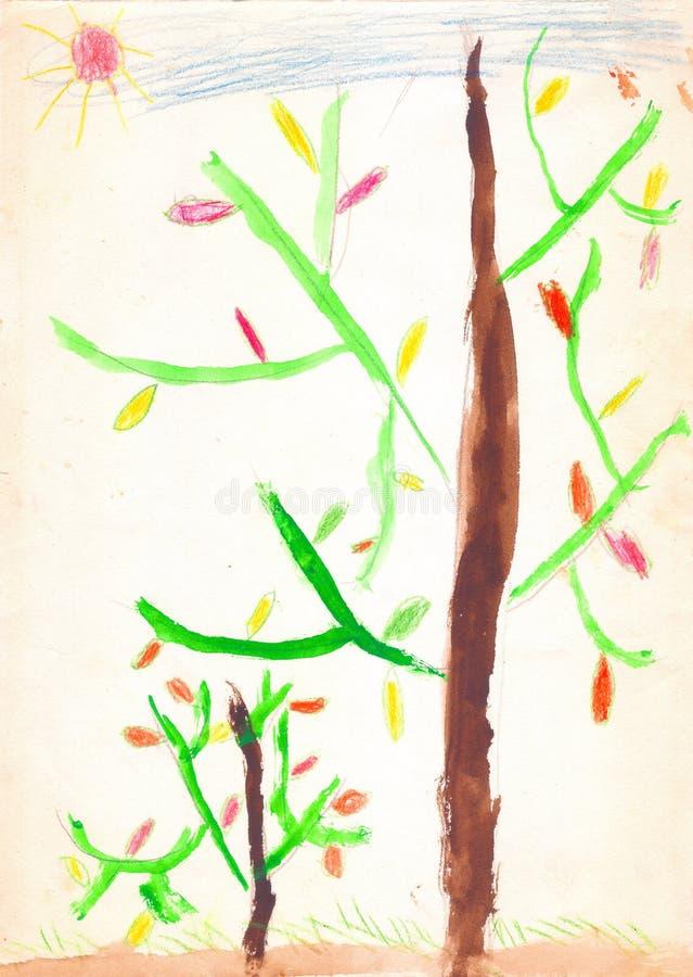 Deux arbres avec les feuilles rouges et jaunes, la terre brune, été de saison Retrait d'enfant illustration stock