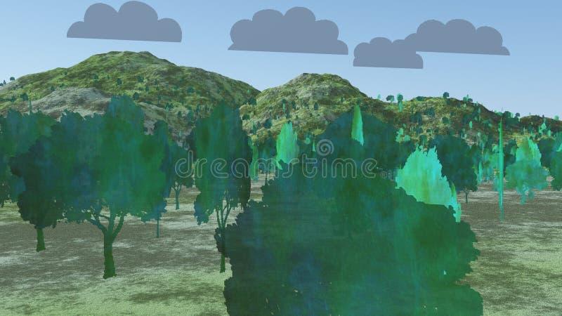Deux arbres de dimension illustration libre de droits