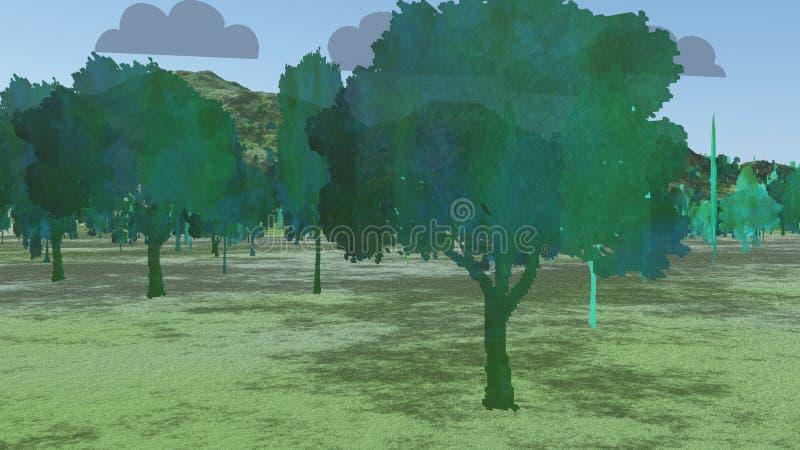 Deux arbres de dimension illustration de vecteur