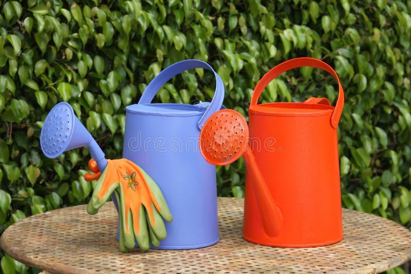Deux arrosoirs et gants de jardin photographie stock