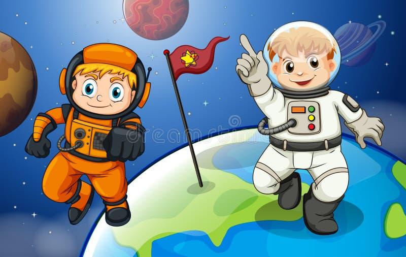 Deux astronautes masculins dans l'outerspace illustration de vecteur