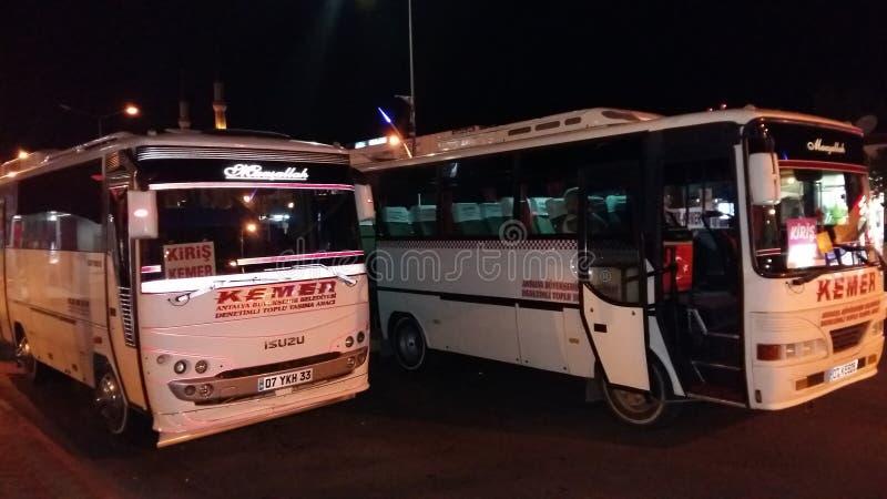 Deux autobus blancs de ville dans le kemer la nuit photos stock