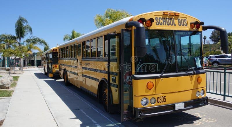 Deux autobus scolaires jaunes prêts pour l'excursion sur le terrain photos libres de droits