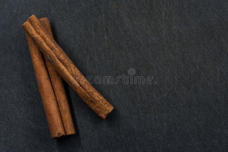 Deux bâtons de cannelle de côté gauche avec l'espace de copie vers la droite photos stock