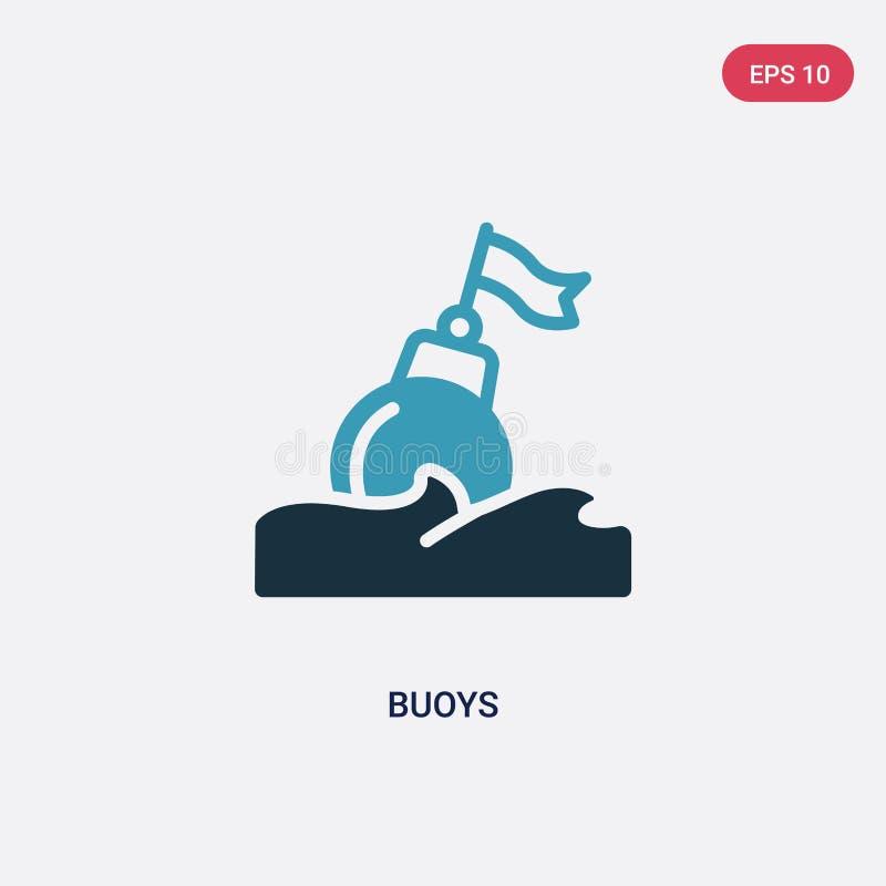 Deux balises de couleur dirigent l'icône du concept nautique le symbole bleu d'isolement de signe de vecteur de balises peut être illustration stock