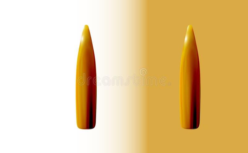 Deux balles d'isolement kalachnikov d'or ou fusil, 3d r?aliste, d'or ou en laiton sur le fond clair, partie de mise ? feu de la c illustration libre de droits