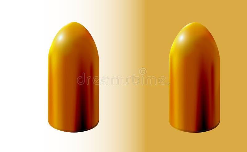 Deux balles d'isolement d'or, d'or 3d ou en laiton r?aliste sur le fond clair, partie de mise ? feu de la cartouche, tir illustration de vecteur