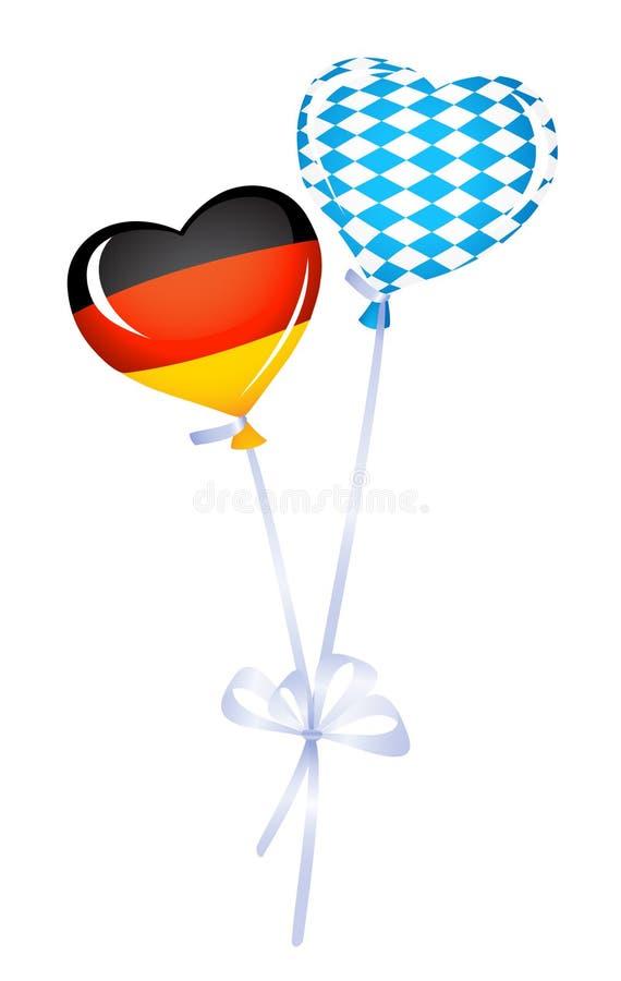 Deux ballons de coeur en l'Allemagne et les couleurs bavaroises illustration libre de droits
