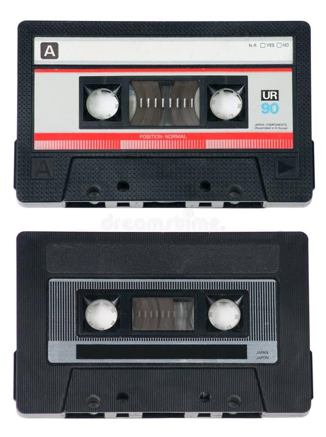 Deux bandes de cassette sonore sur le blanc images libres de droits