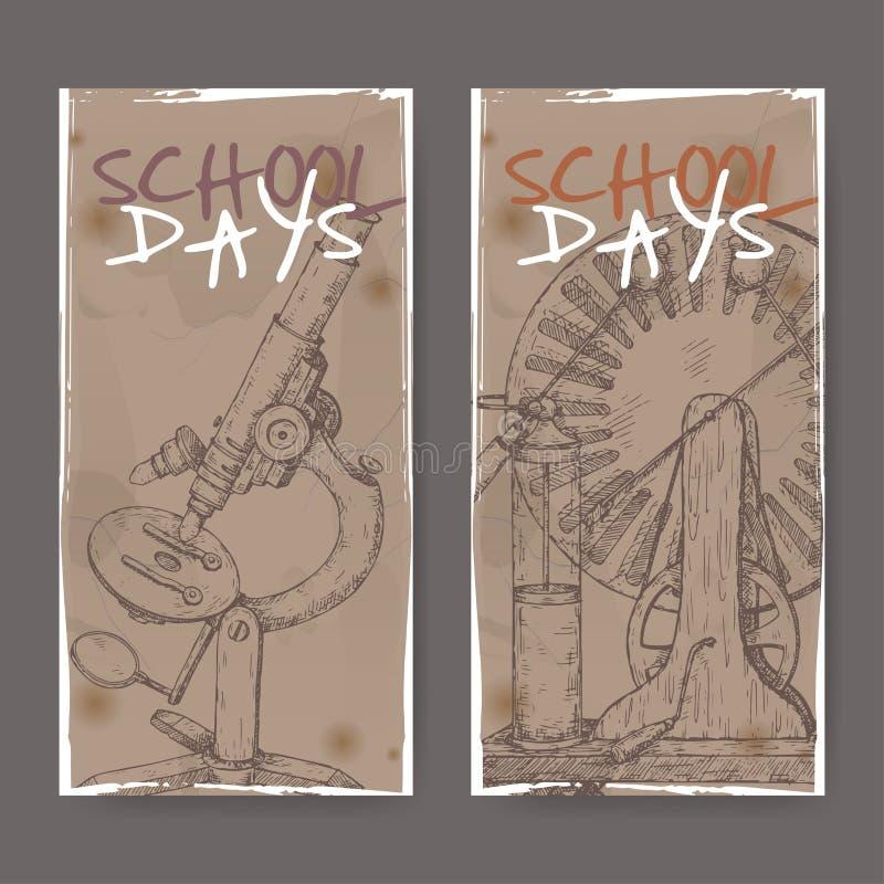 Deux bannières avec l'école ont rapporté des croquis comportant le microscope et le modèle électrique de générateur illustration stock