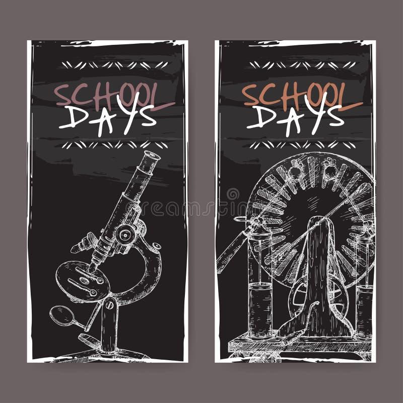 Deux bannières avec l'école ont rapporté des croquis comportant le microscope et le modèle électrique de générateur sur le noir illustration libre de droits
