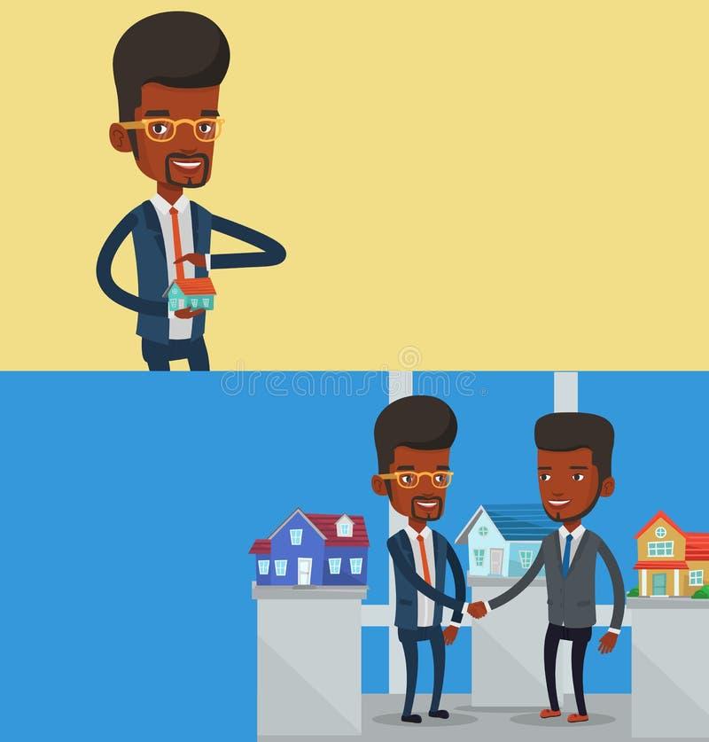 Deux bannières d'immobiliers avec l'espace pour le texte illustration libre de droits