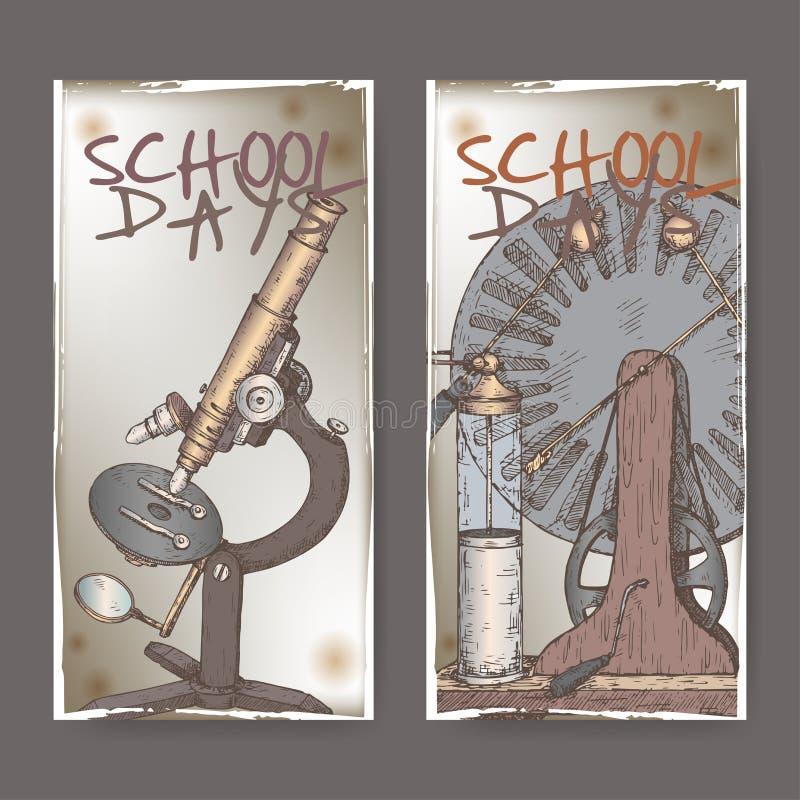 Deux bannières de couleur avec l'école ont rapporté des croquis comportant le microscope et le modèle électrique de générateur illustration de vecteur
