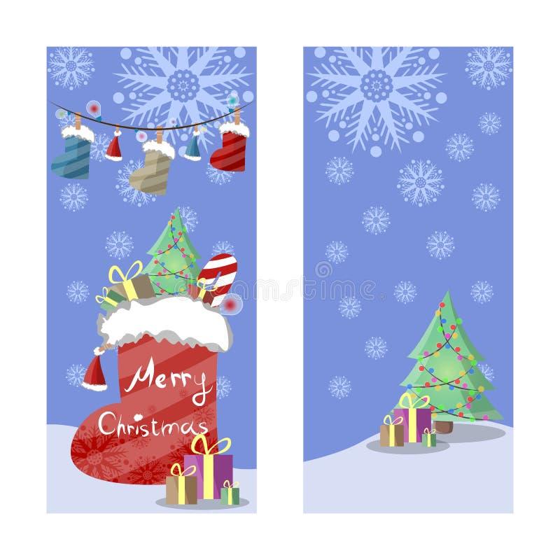 Deux bannières de Noël dans le rétro style Cadeaux, flocons de neige et guirlandes des bottes, des chapeaux et des lumières color illustration de vecteur