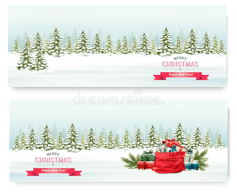 Deux bannières de paysage d'hiver de Noël avec les présents colorés illustration de vecteur
