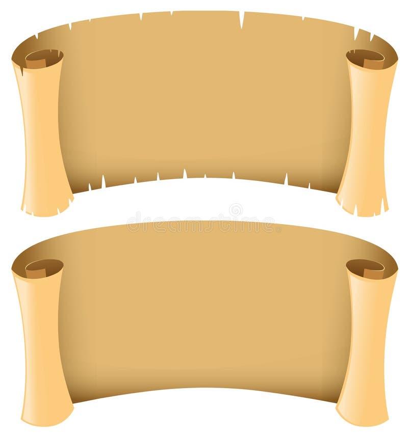 Deux bannières en blanc dans le style médiéval illustration de vecteur