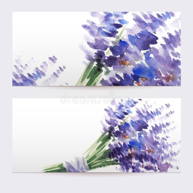 Deux bannières florales d'aquarelle avec le bouquet de la lavande illustration de vecteur