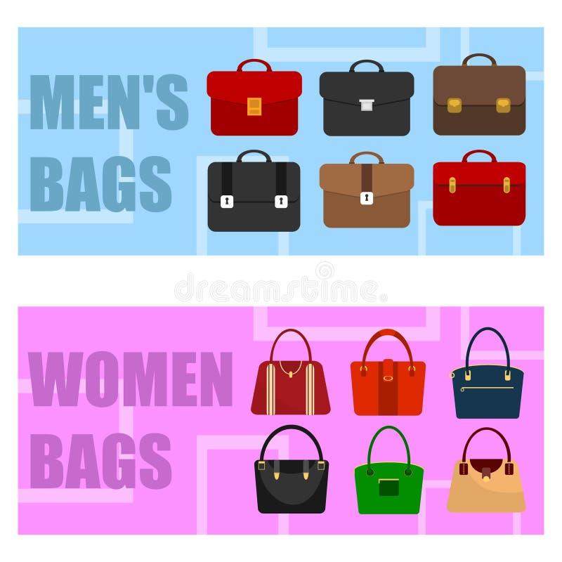 Deux bannières horizontales avec des sacs à main du ` s de serviettes et de femmes du ` s des hommes illustration de vecteur