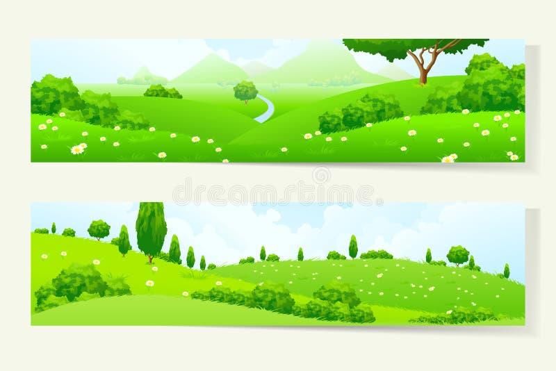 Deux bannières horizontales avec le paysage de nature illustration libre de droits