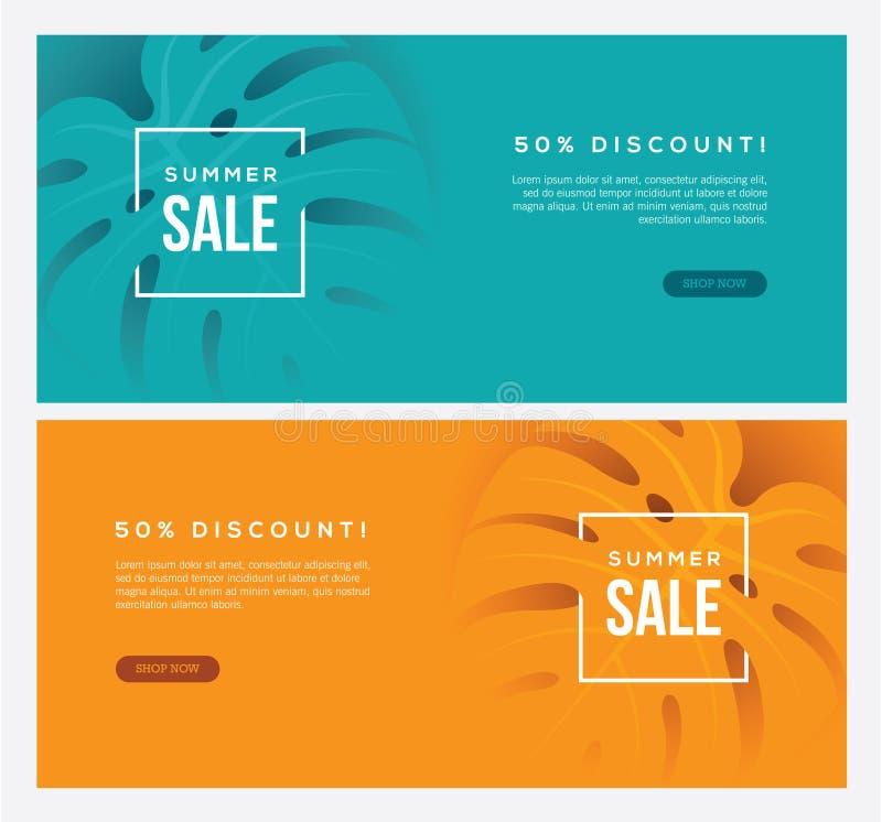 Deux bannières horizontales de Web de vente d'été illustration libre de droits