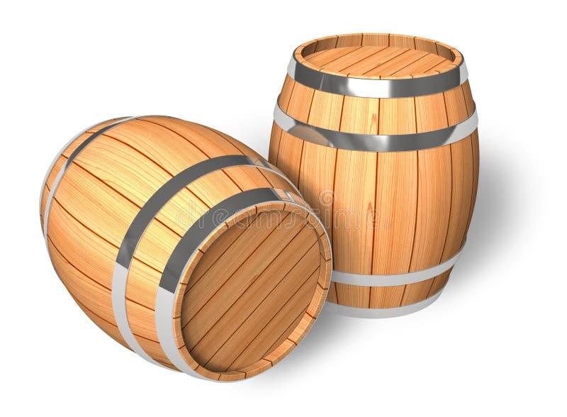 Deux barils en bois illustration libre de droits