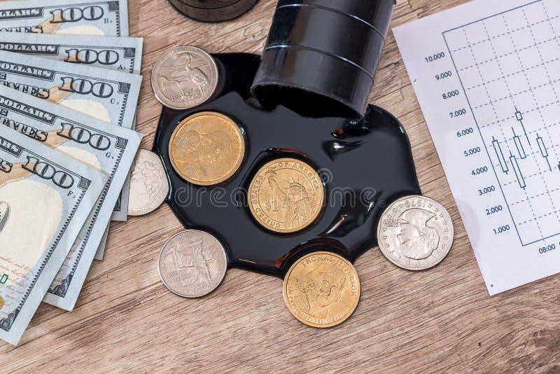 Deux barils noirs avec de l'huile, billets de banque du dollar Graphique de gestion Calculatrice photographie stock libre de droits