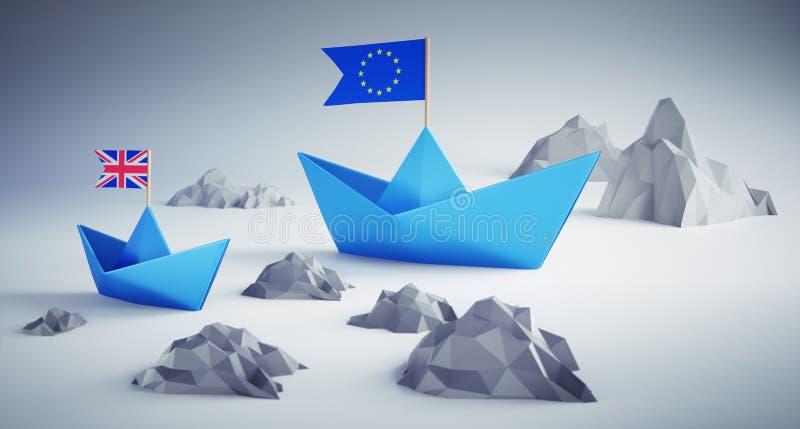 Deux bateaux bleus l'Europe et illustration de la Grande-Bretagne - du Brexit 3D illustration de vecteur