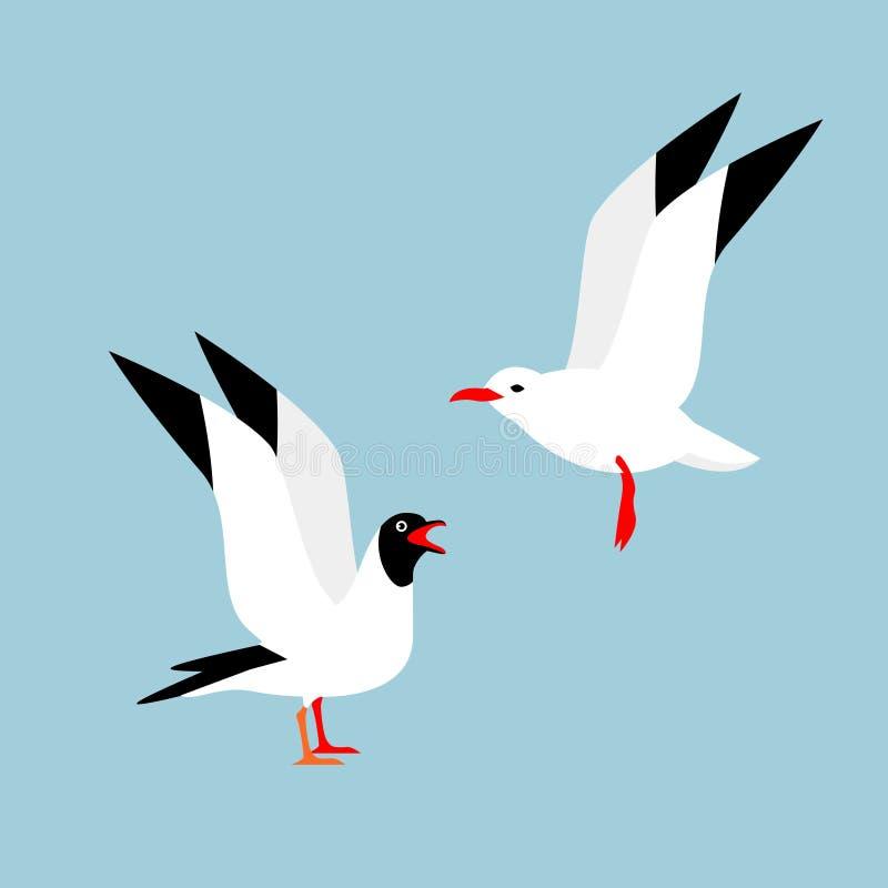 Deux beaux oiseaux sur un fond bleu illustration libre de droits