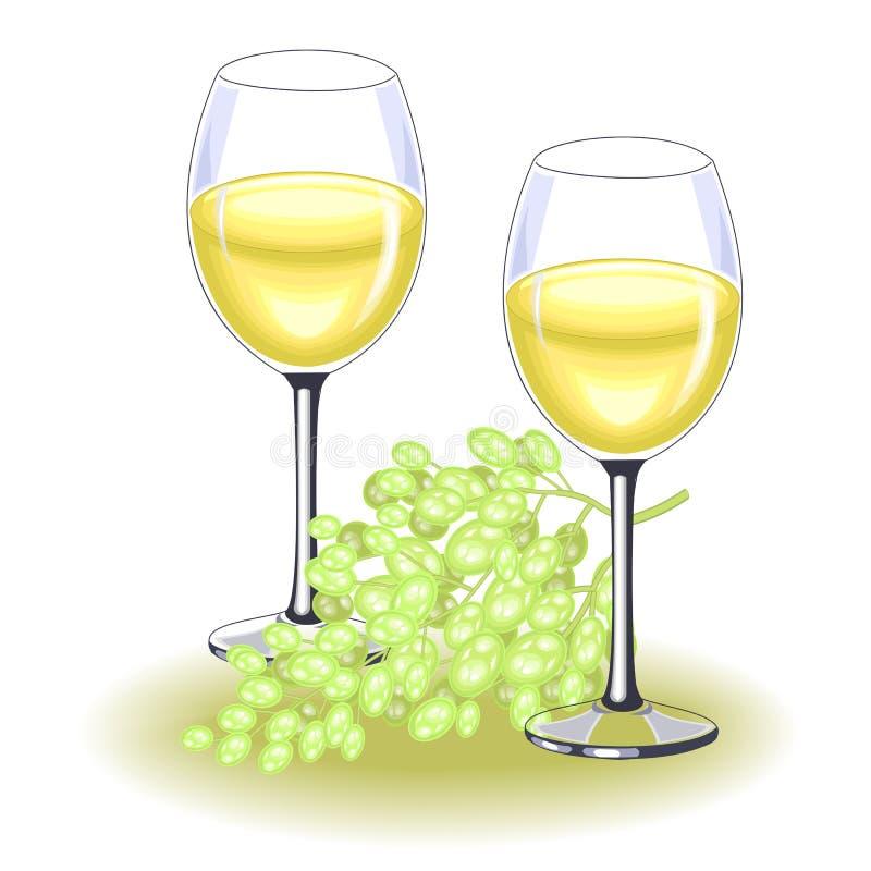 Deux beaux verres cristal avec du vin blanc d?licieux Un groupe de raisins mûr D?coration de la table de f?te Vecteur illustration libre de droits
