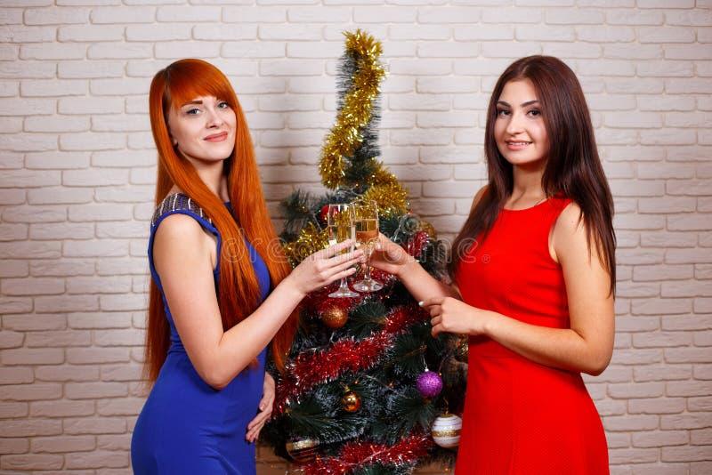 Deux belles femmes dans la soirée portent le glasse faisant la fête et tintant photos libres de droits