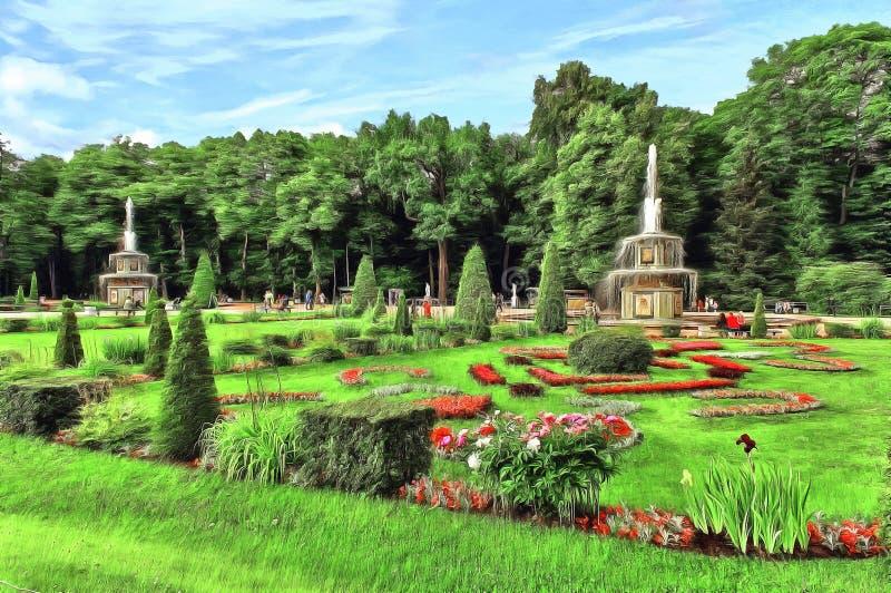 Deux belles fontaines romaines dans Peterhof en été illustration de vecteur