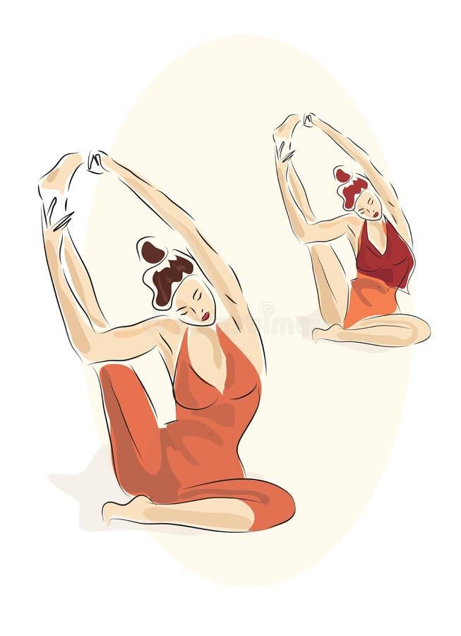 Deux belles jeunes femmes faisant des poses de yoga illustration libre de droits