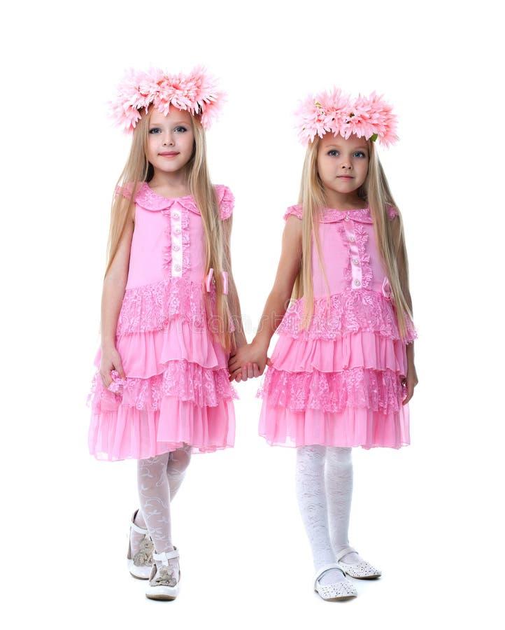 Deux belles petites filles dans des robes roses photo libre de droits