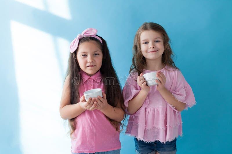 Deux belles petites filles dans l'amie rose de soeurs de vêtements photos libres de droits
