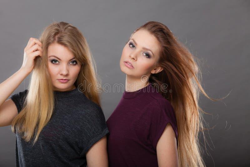 Deux belles poses de femmes, de blonde et de brune image stock