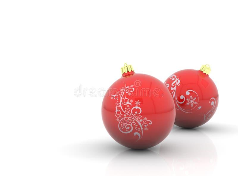 Deux billes rouges de Noël illustration stock