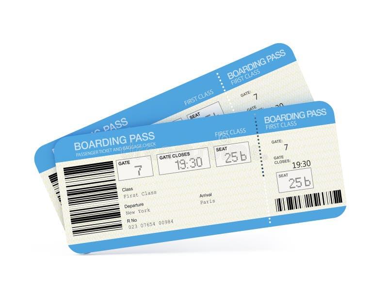 Deux billets de passage d'embarquement de compagnie aérienne illustration stock