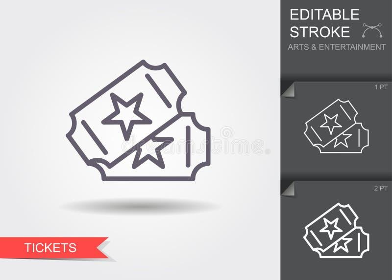 Deux billets Ligne icône avec la course editable illustration stock