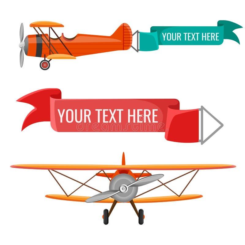 Deux biplans avec des affiches de la publicité dirigent des moyens de transport d'air illustration libre de droits