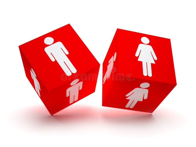 Deux blocs rouges avec les silhouettes mâles et femelles illustration libre de droits