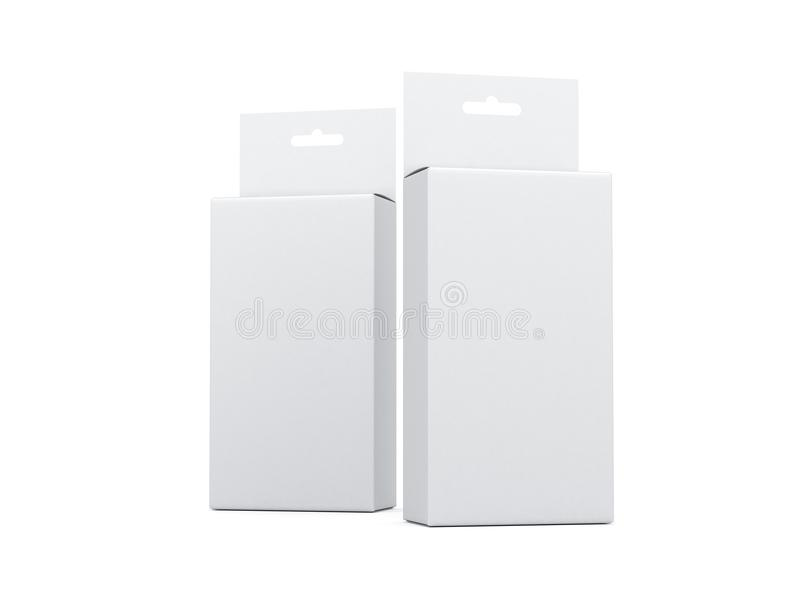 Deux boîtes en carton blanches avec Hang Tab Mockup illustration de vecteur