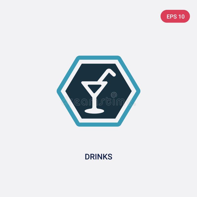 Deux boissons de couleur dirigent l'icône du concept de signes le symbole bleu d'isolement de signe de vecteur de boissons peut ê illustration stock