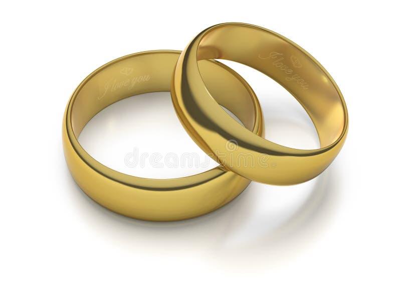 Deux boucles de mariage gravées d'or illustration libre de droits