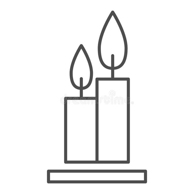 Deux bougies brûlantes amincissent la ligne icône Flambe l'illustration de vecteur de Web d'isolement sur le blanc Conception de  illustration libre de droits