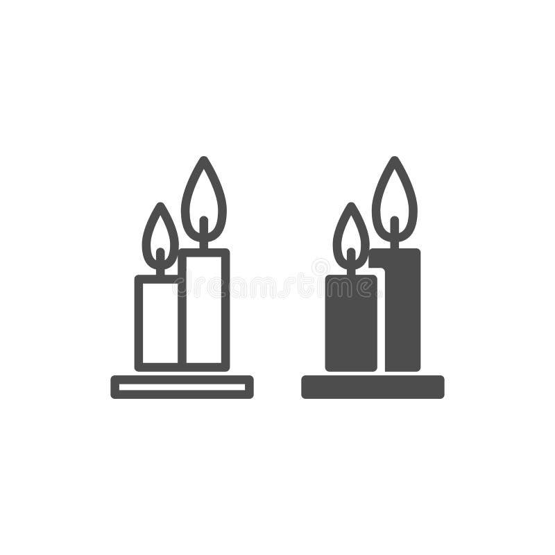 Deux bougies brûlantes de ligne et icône de glyph Flambe l'illustration de vecteur de Web d'isolement sur le blanc Style d'ensemb illustration stock