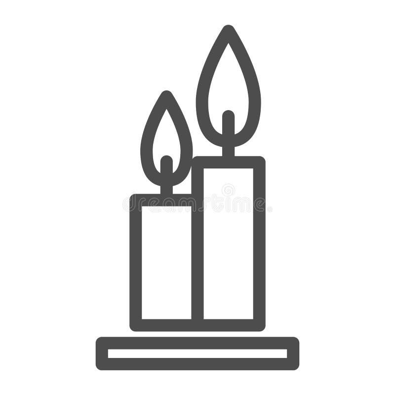 Deux bougies brûlantes de ligne icône Flambe l'illustration de vecteur de Web d'isolement sur le blanc Conception de style d'ense illustration stock