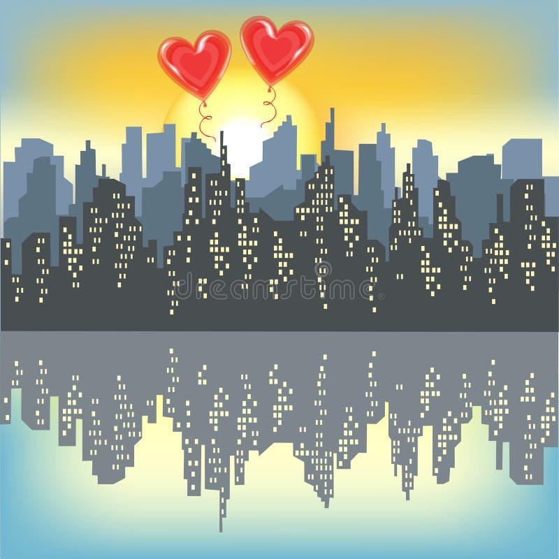 Deux boules rouges de gel sur une silhouette d'une grande ville Ciel lumineux de matin Soleil Levant La ville est refl?t?e dans l illustration libre de droits