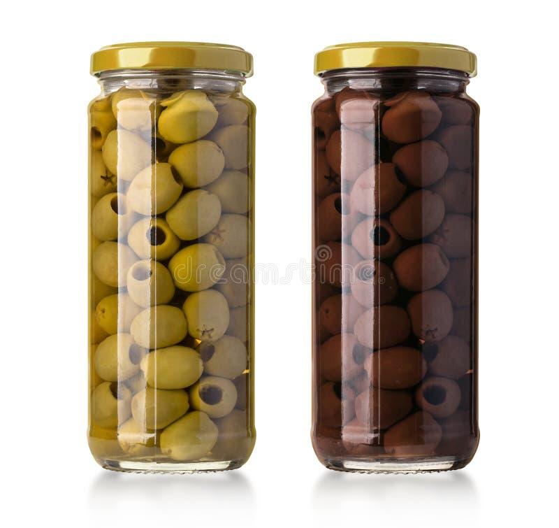 Deux bouteilles d'olives photos stock
