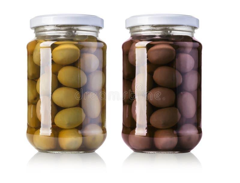 Deux bouteilles d'olives photographie stock libre de droits