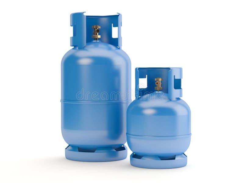 Deux bouteilles de gaz bleues sur le fond blanc, illustration 3D illustration stock
